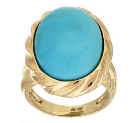 14K Gold Bold Sleeping Beauty Turquoise Ring
