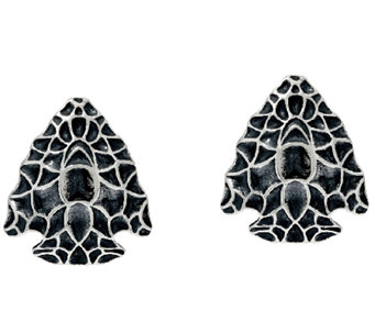 Sterling Silver Textured Arrowhead Stud Earrings by American West - J322558