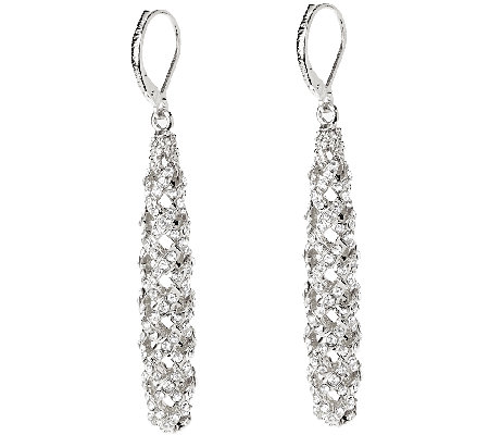 Joan Rivers Pave' Lattice Lever Back Earrings