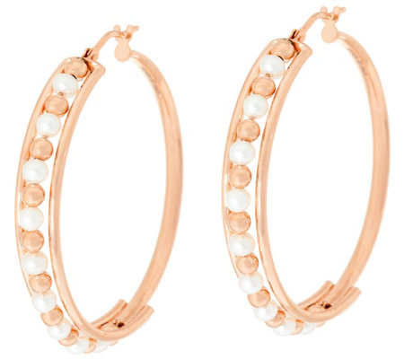 "Honora Cultured Pearl 3.0mm Round 1-1/2"" Bronze Hoop Earrings"