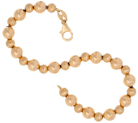 "EternaGold 7-1/4"" Polished & Satin Bead Bracelet 14K Gold, 3.2g"