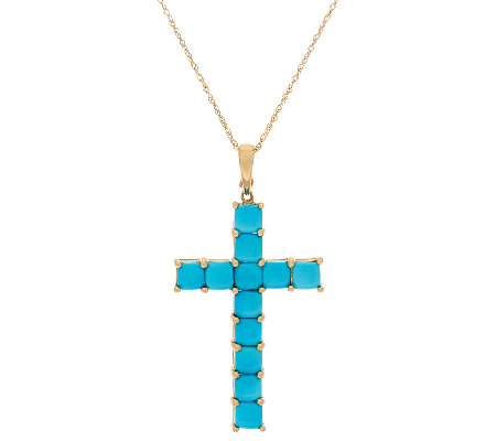 "Sleeping Beauty Turquoise Cross Enhancer on 18"" Chain, 14K Gold"