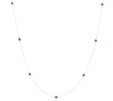 "Diamond Station 36"" Necklace, Sterling, 1-1/2 cttw, by Affinity"