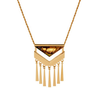 Susan Graver Long Geometric Shell Pendant Necklace - J329258