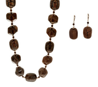 Linea by Louis Dell'Olio Barrel Bead Necklace and Earring Set - J329558