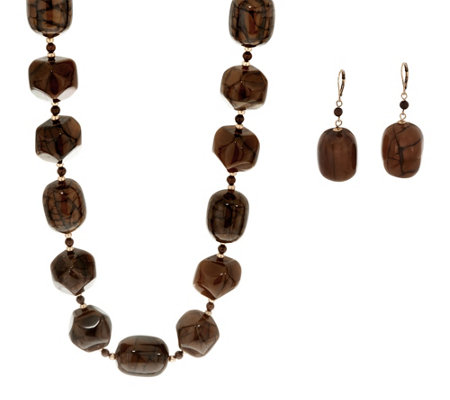 Linea by Louis Dell'Olio Barrel Bead Necklace and Earring Set