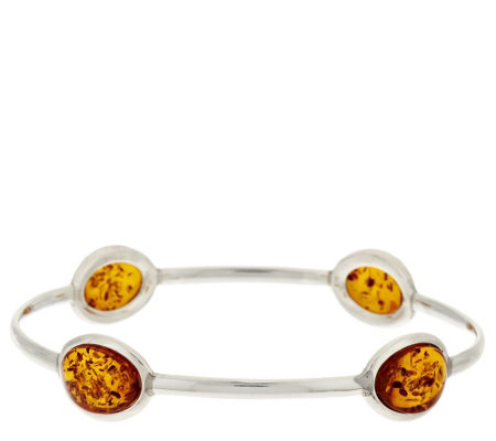 """As Is"" Baltic Amber Large Slip-On Sterling Bangle"
