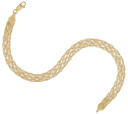 """As Is"" 14K Gold 8"" Textured Braided Bracelet, 3.7g"
