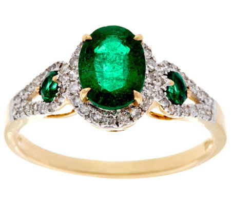 Colombian Emerald & Pave' Diamond 3-Stone Design Ring, 14K, 1.20 cttw