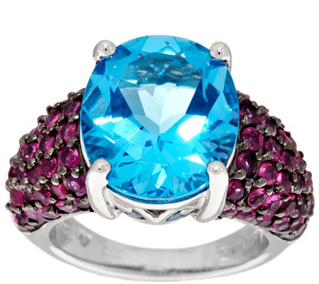 """As Is"" Ostro Swiss Blue Topaz 9.50 cttw Thai Ruby Sterling Ring"