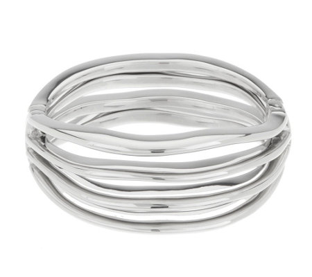 """As Is"" Vicenza Silver Sterling Average Bold Wave Hinged Bangle"