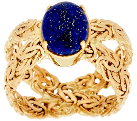 """As Is"" 14K Gold Lapis Byzantine X-Ring"
