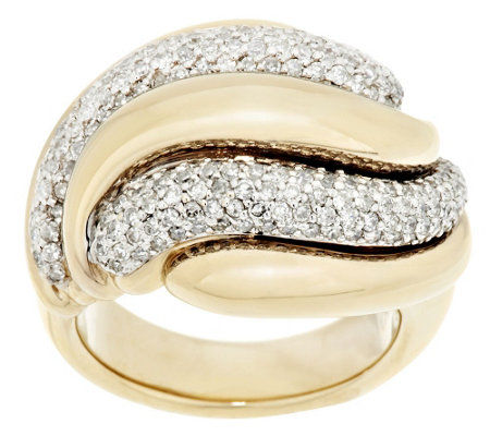 """As Is"" 14K Gold Bold Polished 1.20 cttw Swirl Diamond Ring"