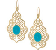 Vicenza Gold Turquoise Teardrop Earrings 14K