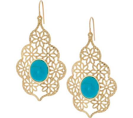 Vicenza Gold Turquoise Teardrop Earrings 14K Gold