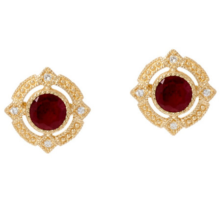 Judith Ripka 14K Gold Ruby, Emerald or Sapphire Stud Earrings