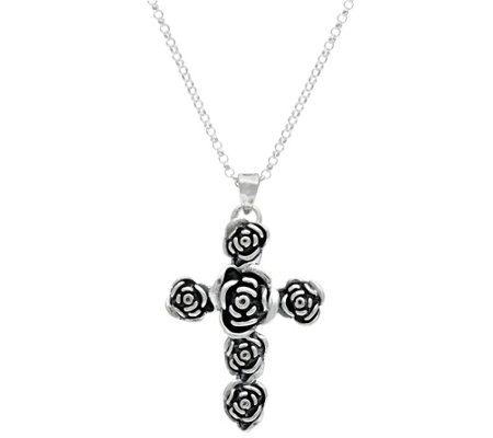 Or Paz Sterling Silver Rose Cross Pendant with Chain