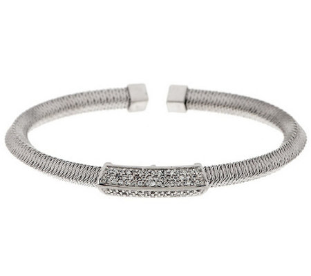 """As Is"" Italian Silver Sterling Pave' Diamonique Knife Edge Cuff"
