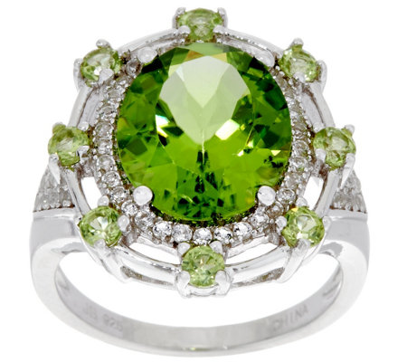 Oval Peridot Bold Sterling Silver Ring 5.50 cttw