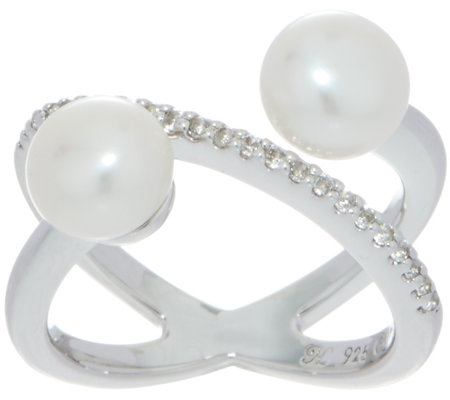Honora X-Design Double Cultured Pearl Ring, Sterling Silver