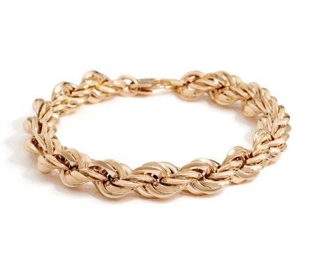 "Italian Gold 6-3/4"" Bold Polished Rope Bracelet, 14K Gold 9.9g"