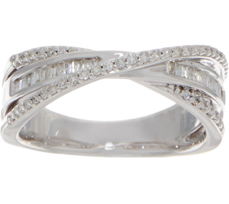 Baguette & Round Crossover Diamond Ring, 3/10 cttw Ster. by Affinity
