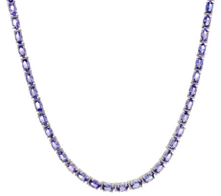 Exotic Gemstone Tennis Necklace, Sterling Silver