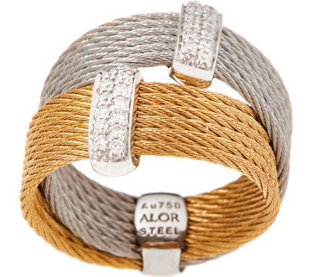 ALOR Cable Stainless Steel & Diamond Double Band Ring