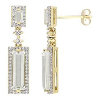 3.35 cttw Green Amethyst & 3/10 cttw Diamond Earrings, 14K