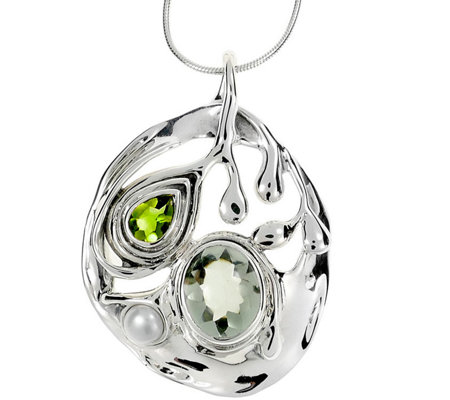 Hagit Sterling 3.90 cttw Gemstone Pendant w/Chain