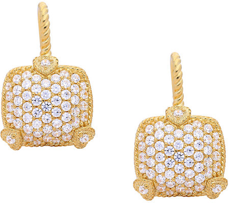 Judith Ripka 14K Clad Pave Diamonique Earrings