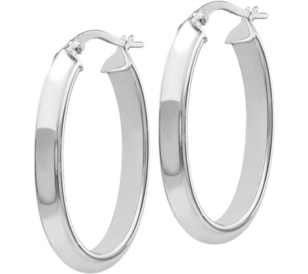 "Italian Gold 1-1/4"" Polished Hoop Earrings 14K,3.2g"