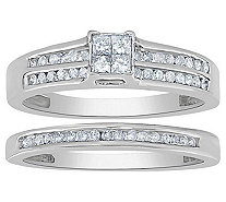 Affinity 14K Gold 2/5 cttw Diamond Double-Channel Ring Set - J383558