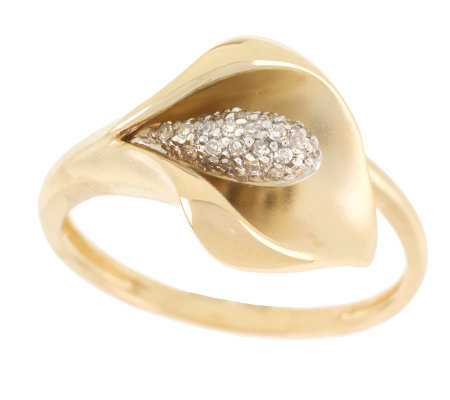 Diamond Accent Calla Lily Ring 14K Gold