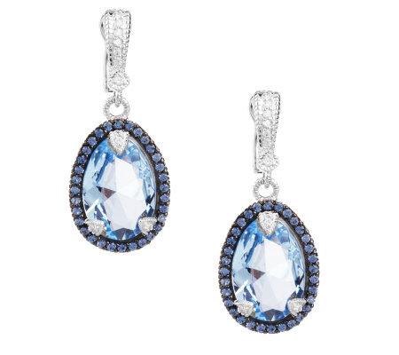 Judith Ripka Sterling Capri Blue Diamonique Pear Shape Drop Earrings