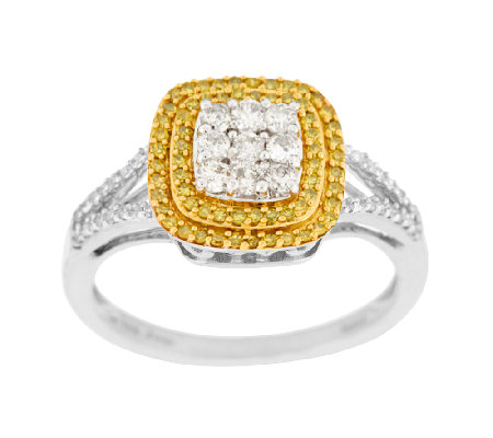 """As Is"" Cushion Pave' Halo Diamond Ring, Sterling 1/2 ct tw by Affinity"