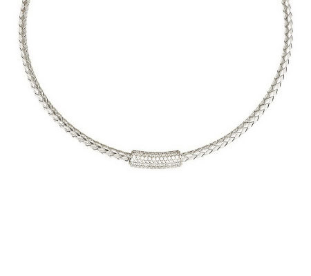 Vicenza Silver Sterling Diamonique Station Collar Necklace
