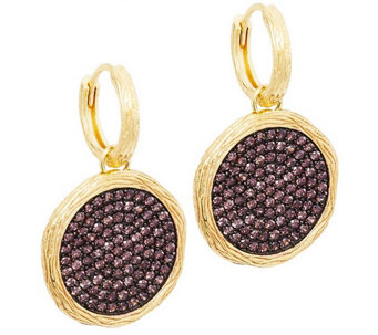 """As Is"" Veronese 18K Clad Cognac Crystal Round Drop Earrings - J284259"