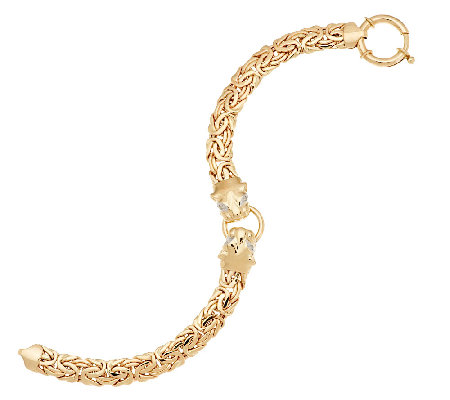 "14K Gold 6-3/4"" Yellow Panther Head Byzantine Bracelet, 9.7g"