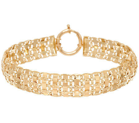 14K Gold Diamond Cut Interlocking Link Bracelet, 10.0g