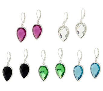 Joan Rivers Set of 5 Pear Shaped Lever Back Earrings - J295459