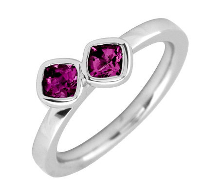 Simply Stacks Sterling Rhod.Garnet Double-Square Gemstone Ring