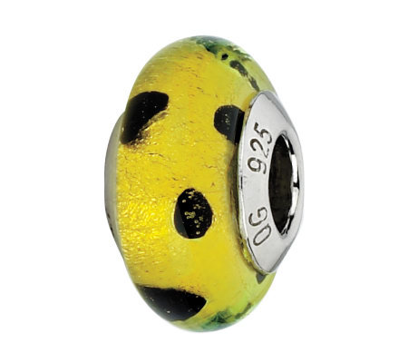 Prerogatives Lime with Black Dots Italian Murano Glass Bead