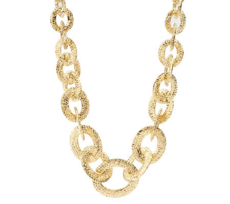 "Arte d'Oro 18"" Diamond Cut Oval Link Necklace,18K, 46.4g"