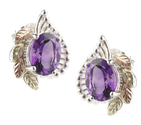 Black Hills 1.70 ct tw Amethyst Button Earrings, Sterling/12K