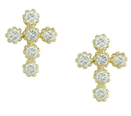 Jewelry of Faith Diamonique Cross Stud Earrings, 14K Gold