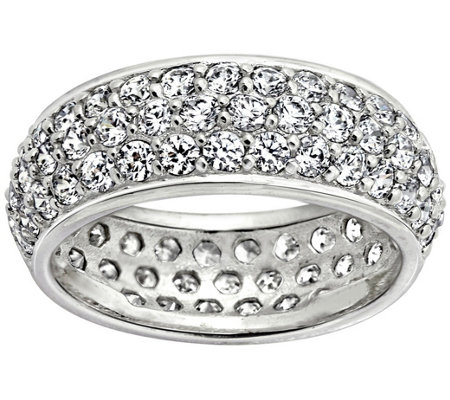 Diamonique(R) Sterling Triple Row Eternity BandRing