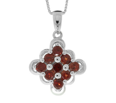 "Sterling Garnet Scalloped-Edge Pendant with 18""Chain"