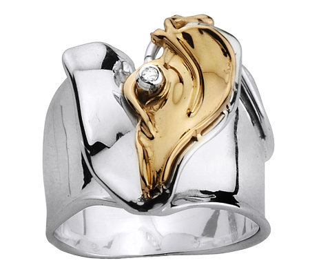 Hagit Gorali Diamond Accent Heart Ring, Sterling/14K Gold