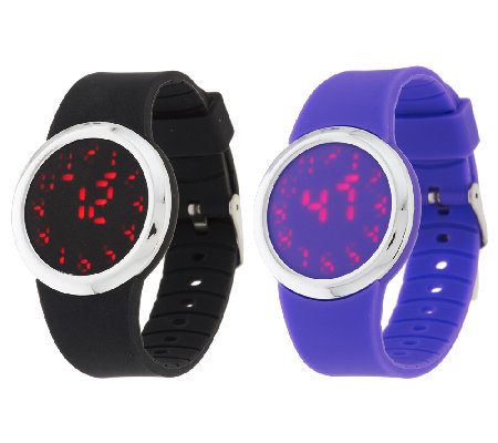 Set of 2 Silicone Watches with Hidden LED Display